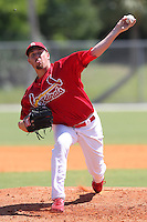 St. Louis Cardinals minor league pitcher Anthony Ferrara #33 delivers a pitch during a spring training game vs the New York Mets at the Roger Dean Sports Complex in Jupiter, Florida;  March 24, 2011.  Photo By Mike Janes/Four Seam Images