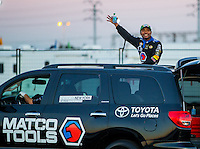Nov 14, 2015; Pomona, CA, USA; NHRA top fuel driver Antron Brown during qualifying for the Auto Club Finals at Auto Club Raceway at Pomona. Mandatory Credit: Mark J. Rebilas-USA TODAY Sports