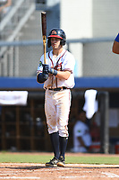 Cody Milligan (7) of the Danville Braves at bat during a game against the Bluefield Blue Jays at American Legion Post 325 Field on July 28, 2019 in Danville, Virginia. The Blue Jays defeated the Braves 9-7. (Tracy Proffitt/Four Seam Images)