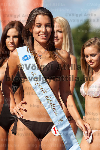 Fanni Krizsa winner of the prize for the most beautiful decoltage placed third during the Miss Bikini beauty contest held in Budapest, Hungary. Sunday, 29. August 2010. ATTILA VOLGYI