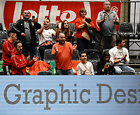 20191010 - HALLE: Benfica's supporters are  pictured celebrating their team's win after the UEFA Futsal Champions League Main Round match between Araz Naxcivan and SL Benfica on 10th October 2019 at De Bres Sportcomplex, Halle, Belgium. PHOTO SPORTPIX | SEVIL OKTEM