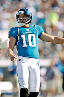 October 03, 2010:  Jacksonville Jaguars place kicker Josh Scobee (10) watches his extra point during 1st half AFC South Conference action between the Jacksonville Jaguars and the Indianapolis Colts at EverBank Field in Jacksonville, Florida.   Jacksonville defeated Indianapolis 31-28........