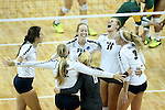SIOUX FALLS, SD - DECEMBER 9:  Palm Beach Atlantic celebrates a point against Alaska Anchorage during their semifinal match of the Women's Division II Women's Volleyball Championship at the Sanford Pentagon in Sioux Falls, SD. (Photo by Dave Eggen/Inertia)