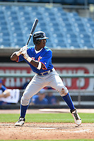 Von Watson (7) of Briarcrest Christian School in Potts Camp, MIssissippi playing for the New York Mets scout team during the East Coast Pro Showcase on August 1, 2014 at NBT Bank Stadium in Syracuse, New York.  (Mike Janes/Four Seam Images)