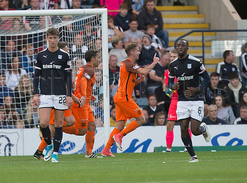 August 9th 2017, Dens Park, Dundee, Scotland; Scottish League Cup Second Round; Dundee versus Dundee United; Dundee United's Billy King celebrates after scoring to make the score 1-1