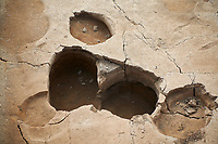 Building 321. Close up of the empty burial pit in the floor of the Neolithic remains of mud brick house, north ecavation area, Catalyhoyuk Archaeological Site, Çumra, Konya, Turkey