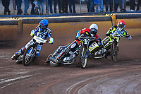 Heat 3 James Shanes of Poole Pirates left during Poole Pirates vs Belle Vue Aces, Elite League Speedway at The Stadium on 11th April 2018
