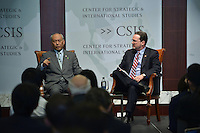 Washington, DC - April 15, 2016: The Honorable Yoichi Masuzoe, Governor of Tokyo, speaks about the challenges facing Tokyo during a discussion moderated by Michael Green at the Center for Strategic and International Studies in the District of Columbia, April 15, 2016.  (Photo by Don Baxter/Media Images International)