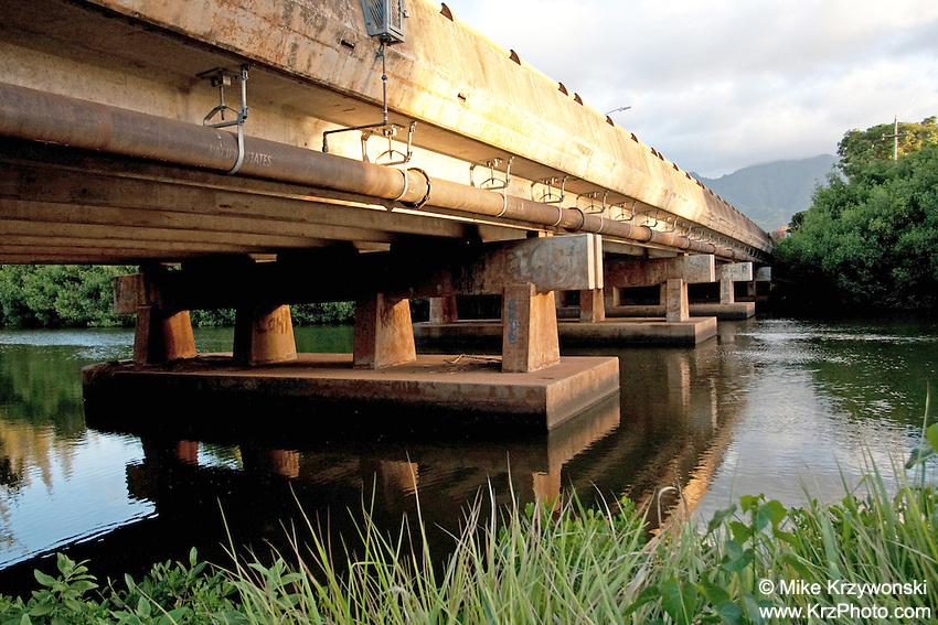 View under bridge in Haleiwa, Oahu, Hawaii