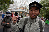 Members of the student union, Zengakuren at a demo by left wing groups in Hibiya, Tokyo, Japan Sunday November 6th 2011