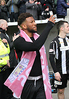 St Mirren's Myles Hippolyte filming the celebration after winning the Scottish Professional Football League Ladbrokes Championship at the Paisley 2021 Stadium, Paisley on 14.4.18.