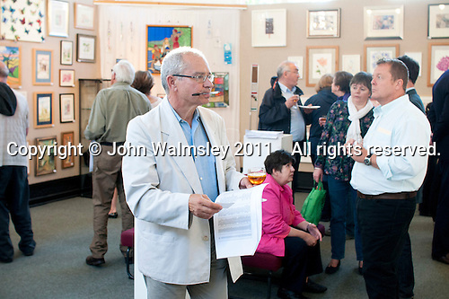 Opening of an exhibition of students' work, Harvey Gallery, Adult Learning Centre, Guildford, Surrey.