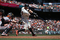 SAN FRANCISCO, CA - AUGUST 14:  Trevor Brown #14 of the San Francisco Giants bats against the Baltimore Orioles during the game at AT&T Park on Sunday, August 14, 2016 in San Francisco, California. Photo by Brad Mangin