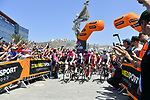 The start of Stage 2 of the 101st edition of the Giro d'Italia 2018 running 167km from Haifa to Tel Aviv, Israel. 5th May 2018.<br /> Picture: LaPresse/Gian Mattia D'Alberto | Cyclefile<br /> <br /> <br /> All photos usage must carry mandatory copyright credit (&copy; Cyclefile | LaPresse/Gian Mattia D'Alberto)