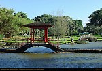 Gazebo on Stone Bridge, Taiko Bashi Drum Bridge, Waihonu Pond, Liliuokalani Gardens, Hilo, Big Island of Hawaii