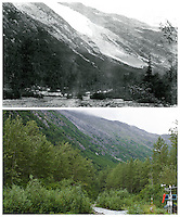 KLGO Photo Station CH-04: Sheep Camp, August 19, 2013, View to the north from Sheep Camp, Klondike Gold Rush National Historical Park, Alaska, United States. The upper photo was taken September 4, 1897 by H.M. Sarvant (University of Washington Libraries, Special Collections, UW22053). The lower photo was taken August 19, 2013 by Ronald D. Karpilo Jr. (Karpilo #20130819-00259).