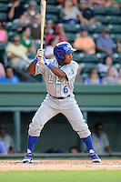 Outfielder Terrance Gore (6) of the Lexington Legends bats in a game against the Greenville Drive on Sunday, July 21, 2013, at Fluor Field at the West End in Greenville, South Carolina. Lexington won, 2-0. (Tom Priddy/Four Seam Images)