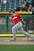 Jesus Sucre (23) of the Tacoma Rainiers at bat against the Salt Lake Bees in Pacific Coast League action at Smith's Ballpark on July 22, 2016 in Salt Lake City, Utah. The Rainiers defeated the Bees 8-3. (Stephen Smith/Four Seam Images)