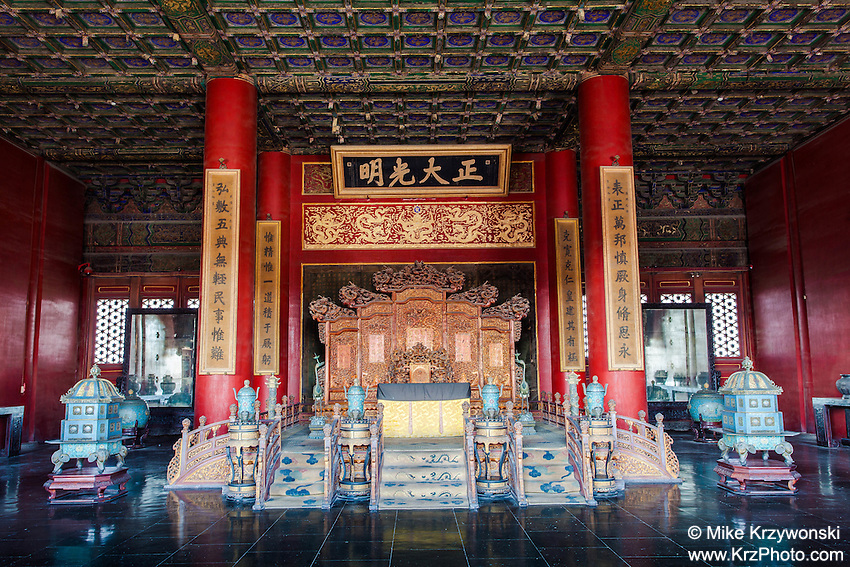 Throne inside the Palace of Heavenly Purity, Forbidden City, Beijing, China