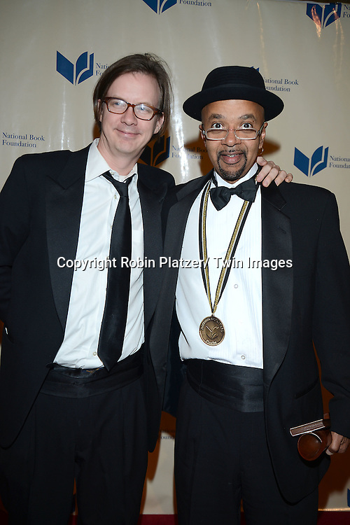James McBride  and Hillel Italie attend the 2013 National Book Awards Dinner and Ceremony on November 20, 2013 at Cipriani Wall Street in New York City.