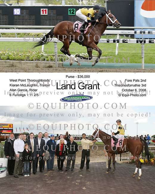 Land Grant #8 with Alan Garcia riding, won the 2nd race at the Meadowlands on 10/6/08.  Photo By EQUI-PHOTO.
