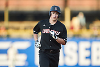 Brendan McKay (38) of the Louisville Cardinals runs the bases after a home run against the Notre Dame Fighting Irish in Game Eight of the 2017 ACC Baseball Championship at Louisville Slugger Field on May 25, 2017 in Louisville, Kentucky. The Cardinals defeated the Fighting Irish 10-3. (Brian Westerholt/Four Seam Images)
