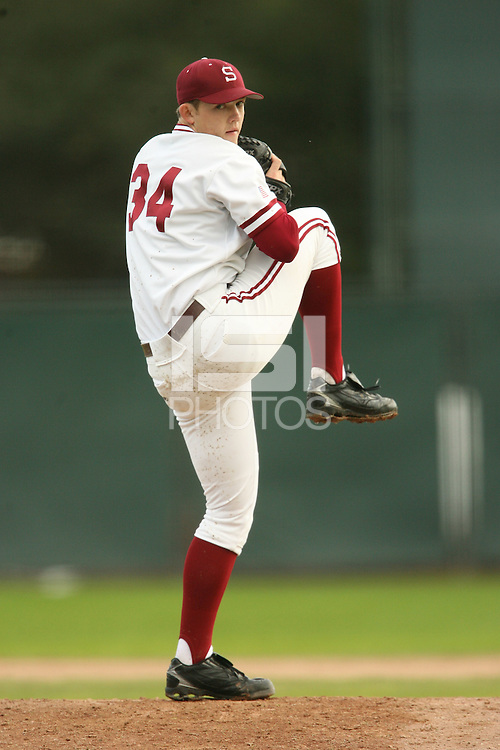 13 February 2007: Tom Stilson during Stanford's 5-1 exhibition win over Rikkio University at Sunken Diamond in Stanford, CA.
