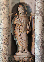 Statue of Saint-Louis in the guise of Louis XIII, by Francesco Bordoni, 1580-1654, in La Chapelle de la Trinite or the Chapel of the Trinity in the Chateau de Fontainebleau, France. The Palace of Fontainebleau is one of the largest French royal palaces and was begun in the early 16th century for Francois I. It was listed as a UNESCO World Heritage Site in 1981. Picture by Manuel Cohen