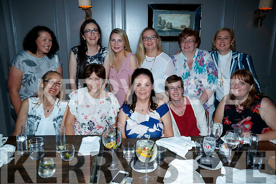 Caitriona Hartnett, Tralee, who celebrated her hen party at Number 4 the square on Saturday evening, Front from left: Breda Curran, Siobhan O'Sullivan, Caitriona Hartnett, Tessie Byrne and Dee Nolan. Back from Left: Mary Clifford, Mired Keane, Denise Hartnett, Patricia Griffin, Catriona Goldrick and Ger Hennessy.