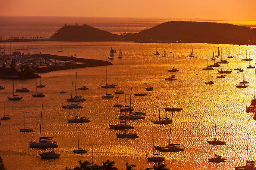 Overview of sailboats moored at Port Moselle Marina, Noumea, Grand Terre, New Caledonia