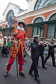 Covent Garden, London, UK. 11 May 2014. The festival starts with a procession around the streets of Covent Garden. The Covent Garden May Fayre and Puppet Festival takes place at St Paul's Church.