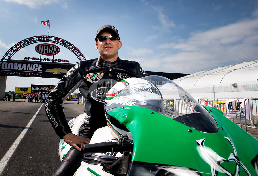 Sept. 1, 2013; Clermont, IN, USA: NHRA pro stock motorcycle rider John Hall during qualifying for the US Nationals at Lucas Oil Raceway. Mandatory Credit: Mark J. Rebilas-