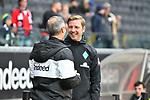 06.10.2019, Commerzbankarena, Frankfurt, GER, 1. FBL, Eintracht Frankfurt vs. SV Werder Bremen, <br /> <br /> DFL REGULATIONS PROHIBIT ANY USE OF PHOTOGRAPHS AS IMAGE SEQUENCES AND/OR QUASI-VIDEO.<br /> <br /> im Bild: Florian Kohlfeldt (Trainer / Interimstrainer, SV Werder Bremen) mit Adi Hütter / Huetter / Hutter (Trainer Eintracht Frankfurt)<br /> <br /> Foto © nordphoto / Fabisch