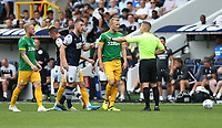 Millwall's Alex Pearce and Preston North End's Jayden Stockley in discussion with referee Stephen Martin<br /> <br /> Photographer Rob Newell/CameraSport<br /> <br /> The EFL Sky Bet Championship - Millwall v Preston North End - Saturday 3rd August 2019 - The Den - London<br /> <br /> World Copyright © 2019 CameraSport. All rights reserved. 43 Linden Ave. Countesthorpe. Leicester. England. LE8 5PG - Tel: +44 (0) 116 277 4147 - admin@camerasport.com - www.camerasport.com
