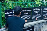RIO DE JANEIRO, RJ, 15.02.2019 – PROTESTO-RJ – A ONG Rio de Paz instalou na Lagoa Rodrigo de Freitas (Curva do Calombo), um cartaz com o nome da menina Jenifer. O local já possui uma instalação com o nome das outras crianças vítimas de bala perdida no Rio de Janeiro desde 2007. Lagoa, zona sul do Rio de Janeiro, No tarde desta sexta-feira (15) (Foto: Vanessa Ataliba/ Brazil Photo Press/Folhapress)