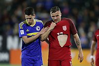Carson, CA - Sunday January 28, 2018: Luka Menalo, Jordan Morris during an international friendly between the men's national teams of the United States (USA) and Bosnia and Herzegovina (BIH) at the StubHub Center.