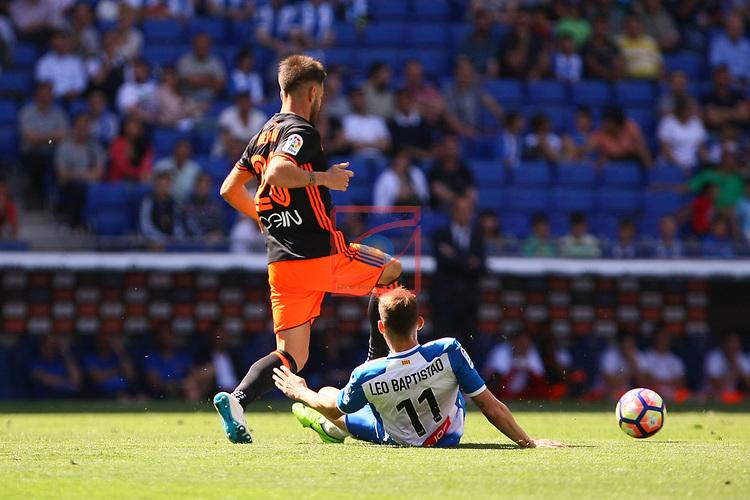 League Santander 2016/2017. Game: 37.<br /> RCD Espanyol vs Valencia CF: 0-1.<br /> Alvaro Medran vs Leo Baptistao.