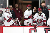 Luke Esposito (Harvard - 9), Ryan Begoon (Harvard - 3), John O'Donnell (Harvard - Equipment Manager), Lewis Zerter-Gossage (Harvard - 77), Devin Tringale (Harvard - 22), Matt Whalen (Harvard - Athletic Trainer) - The Harvard University Crimson defeated the visiting Boston College Eagles 5-2 on Friday, November 18, 2016, at Bright-Landry Hockey Center in Boston, Massachusetts.{headline] - The Harvard University Crimson defeated the visiting Boston College Eagles 5-2 on Friday, November 18, 2016, at Bright-Landry Hockey Center in Boston, Massachusetts.