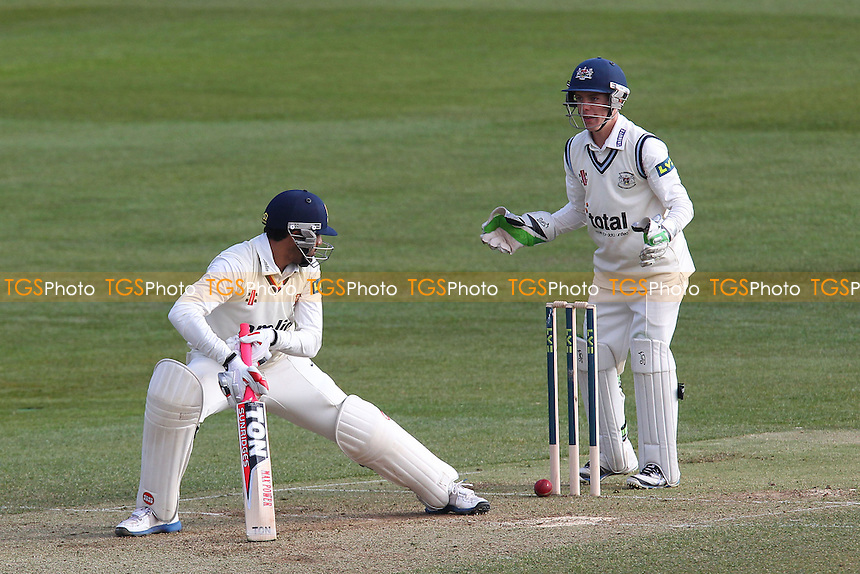 Ravi Bopara of Essex is trapped lbw by the bowling of Benny Howell as Cameron Herring looks on from behind the stumps - Essex CCC vs Gloucestershire CCC - LV County Championship Division Two Cricket at the Essex County Ground, Chelmsford - 12/04/13 - MANDATORY CREDIT: Gavin Ellis/TGSPHOTO - Self billing applies where appropriate - 0845 094 6026 - contact@tgsphoto.co.uk - NO UNPAID USE.