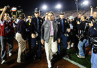 Jan 7, 2010; Pasadena, CA, USA; Alabama Crimson Tide head coach Nick Saban walks off the field after defeating the Texas Longhorns 37-21 in the 2010 BCS national championship game at the Rose Bowl. Mandatory Credit: Mark J. Rebilas-.