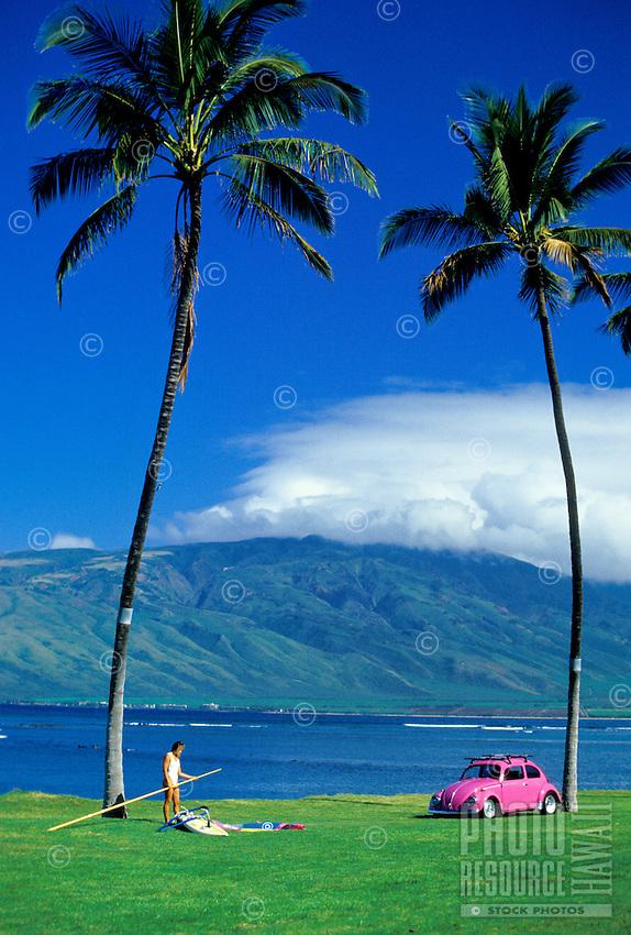 Kihei Coastline with windsurfer and car, Maui