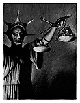 (J G Strijdom holding the scales of justice with the white minority having greater weight than the black majority)