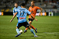 31st January 2020; Netstrata Jubilee Stadium, Sydney, New South Wales, Australia; A League Football, Sydney FC versus Brisbane Roar; Jacob Pepper of Brisbane Roar passes the ball as Anthony Caceres of Sydney challenges
