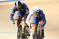 Picture by SWpix.com - 02/03/2018 - Cycling - 2018 UCI Track Cycling World Championships, Day 3 - Omnisport, Apeldoorn, Netherlands - Men's Sprint 1/8 Finals - Ryan Owens of Great Britain and Melvin Landerneau of France