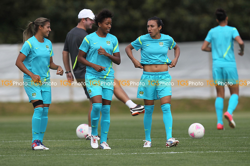 Marta of Brazil Women (3rd L) is seen during a training session at Cardiff University, Cardiff, Wales - 27/07/12 - MANDATORY CREDIT: Gavin Ellis/SHEKICKS/TGSPHOTO - Self billing applies where appropriate - 0845 094 6026 - contact@tgsphoto.co.uk - NO UNPAID USE.