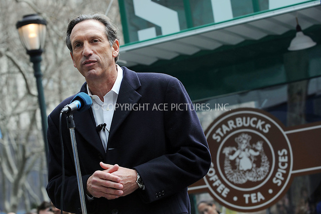 WWW.ACEPIXS.COM . . . . . ....April 8 2008, New York City....Starbucks Corporation Chairman and Chief Executive Howard Schultz launched Starbuck's new 'everyday' coffee blend, 'Pikes Place Roast' in Bryant Parkin kidtown Manhattan.A replica of the original Seattle based 'Pike Place Market' Starbucks was constructed Bryant Park to mark the launch. ....Please byline: KRISTIN CALLAHAN - ACEPIXS.COM.. . . . . . ..Ace Pictures, Inc:  ..(646) 769 0430..e-mail: info@acepixs.com..web: http://www.acepixs.com