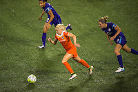Orlando, FL - Thursday June 23, 2016: Denise O'Sullivan, Kristen Edmonds, Becky Edwards during a regular season National Women's Soccer League (NWSL) match between the Orlando Pride and the Houston Dash at Camping World Stadium.