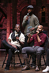 Justin Dine Bryant, Antuan Magic Raimone and Donald Webber during the eduHAM Q & A with the cast of Broadway's 'Hamilton' at The Richard Rodgers Theatre on April 25, 2018 in New York City.