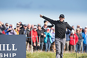 6th October 2017, Carnoustie Golf Links, Carnoustie, Scotland; Alfred Dunhill Links Championship, second round; Rory McIlroy, of Northern Ireland, indicates to the gallery that his tee shot has gone well right on the 4th hole at the Alfred Dunhill Links Championship during the second round on the Championship Links, Carnoustie