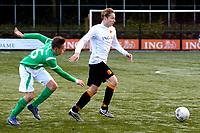 HAREN - Voetbal, Be Quick - HSC 21, derde divisie zondag, seizoen 2017-2018, 05-11-2017,  Jorrit Kunst in duel met Mark Engberink